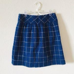 Anthro Maeve Blue Wool Blend Tweed Skirt